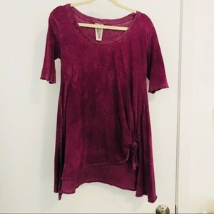 Free People Purple Front Knot Tee